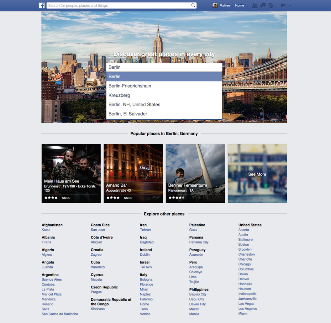 the new Facebook Places discovery Directory